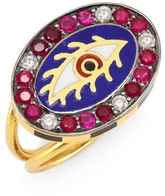 Americana Eye 18K Gold, Tourmaline & Diamond Ring