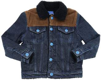 Jacob Cohen COTTON DENIM JACKET W/ FAUX SHEARLING