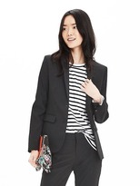 Banana Republic Black Lightweight Wool Two-Button Blazer