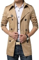 Macfion Men Autumn Belt Trench Thin Big Size Jacket Double Breasted 3 Button Coat