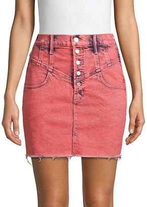Mother Swooner Button Denim Skirt