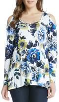 Karen Kane Cold Shoulder Floral Print Top