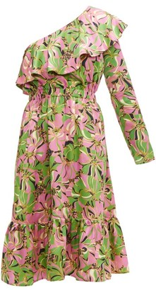 La DoubleJ Boogie Floral-print Ruffle One-shoulder Silk Dress - Green Multi
