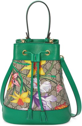 Gucci Online Exclusive Ophidia GG Flora small bucket bag