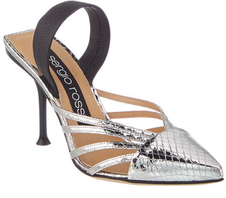 Sergio Rossi Metallic Leather Pin Heel Mule