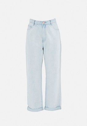 Missguided Light Blue Highwaisted Pleat Front Balloon Jeans
