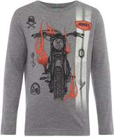 Benetton Boys Motorbike Print Long Sleeve T-Shirt