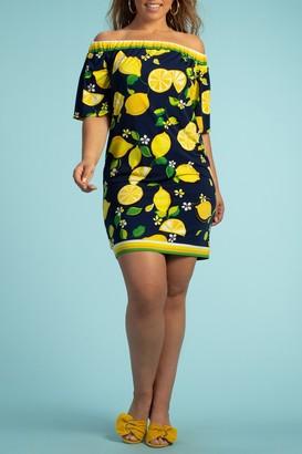 Trina Turk Kelso Lemon Print Off-the-Shoulder Dress