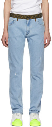 Fendi Blue Forever Belt Jeans