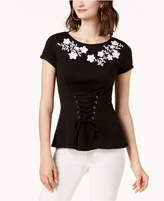 INC International Concepts I.n.c. Embroidered Corset T-Shirt, Created for Macy's