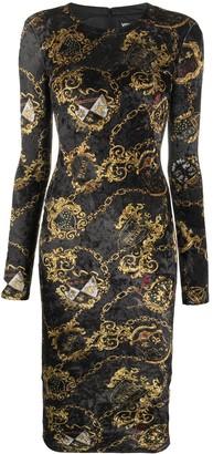 Versace Jeans Couture Chain Print Velvet Dress