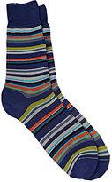 Barneys New York Men's Mixed-Stripe Mid-Calf Socks-GREEN