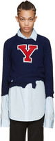 Raf Simons Navy Destroyed 'Y' Sweater