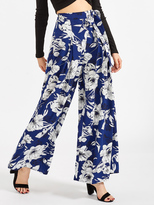 Shein Self Belted Pleated Floral Palazzo Pants