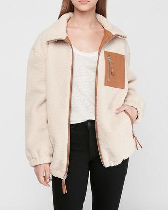 Express Vegan Leather Trim Cozy Jacket