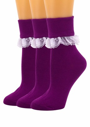 SEMOHOLLI Women Ankle Socks Women Lace Ruffle Frilly Ankle Socks Fashion Ladies Girl Princess - purple - Medium