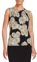 Andrew Marc Pleated Floral Shell