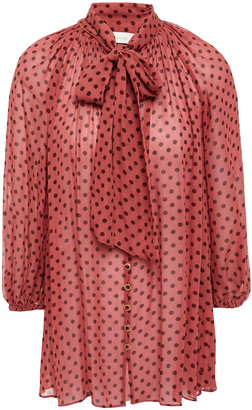 Zimmermann Pussy-bow Polka-dot Crepe De Chine Blouse