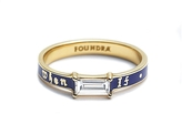 Foundrae If Not Now Then When Diamond Baguette Band Ring - Blue Champlevé Enamel