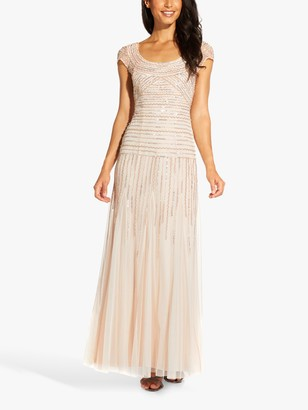 Adrianna Papell Beaded Maxi Gown, Flaxen