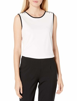 Tommy Hilfiger Women's Crepe Sleeveless Top with Contrast Trim and Button Details