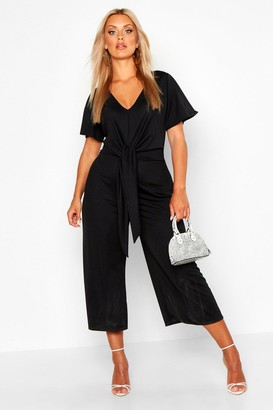 boohoo Plus Tie Front Angel Sleeve Culotte Jumpsuit