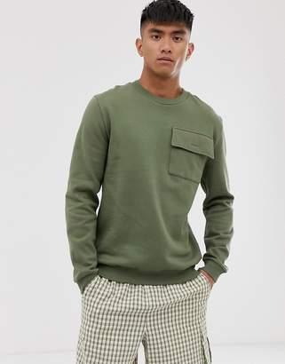 Asos Design DESIGN sweatshirt with utility chest pocket in khaki-Green