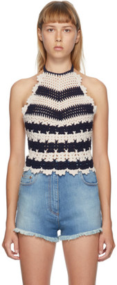Gucci Off-White and Blue Crochet Halter Tank Top