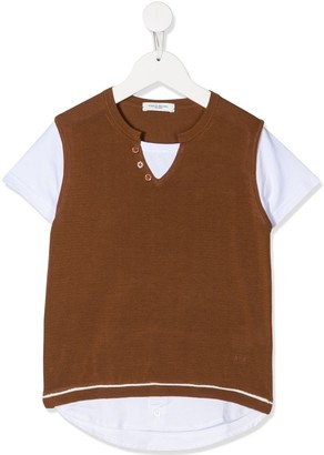 Paolo Pecora Kids Contrast Short-Sleeve Top