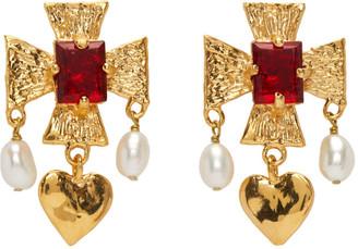MONDO MONDO Gold Pearl and Heart Cardinal Drop Earrings