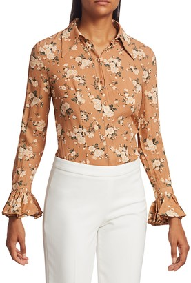 Michael Kors Crushed Silk Bell-Sleeve Shirt