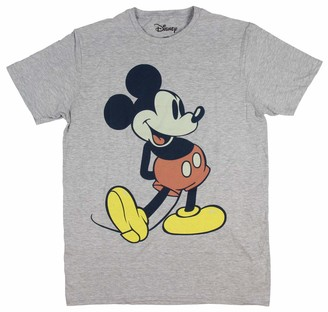 Disney Men's Giant Mickey Mouse Gray Graphic T-Shirt