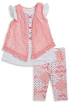 Nannette Girls Crochet Vest, Graphic Top and Leggings Set