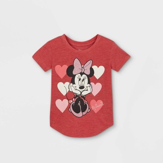 Disney Toddler Girls' Minnie Mouse Hearts Valentine's Day Short Sleeve Graphic T-Shirt -
