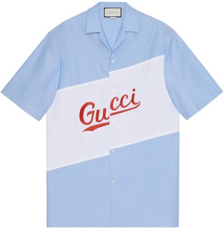Gucci Oversize bowling shirt with script