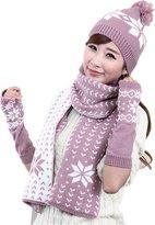Chericom Store-Hat Winter Warm Girls Wool Hat/Scarf/Gloves Women Knitted Hats Scarf Mitten