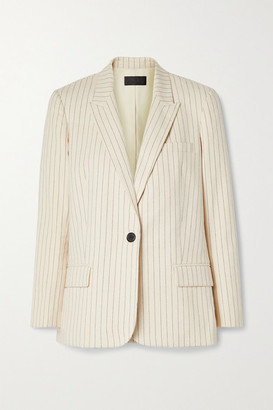 Nili Lotan Don Pinstriped Cotton-canvas Blazer - White