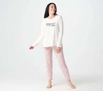 Cuddl Duds Cozy Jersey Petite Novelty Jogger Pant Pajama Set