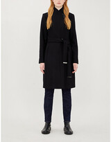Ted Baker Embellished-trim wool-blend wrap coat