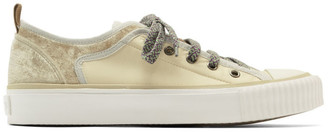Lanvin Off-White Velvet and Nylon Low Top Sneakers