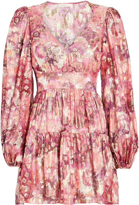 LoveShackFancy Willis Floral Devore Mini Dress