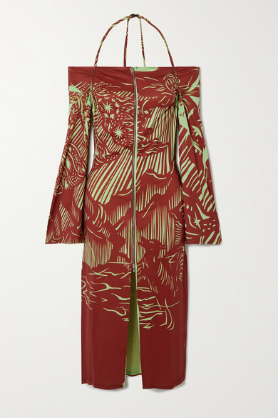 Thumbnail for your product : IOANNES Romeo Printed Recycled Stretch-jersey Halterneck Dress - Red