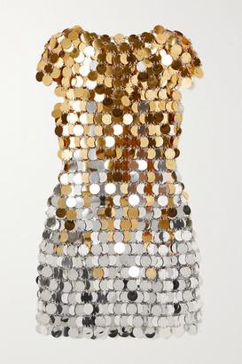 Paco Rabanne Two-tone Chainmail Mini Dress - Gold