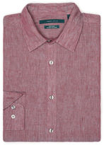Perry Ellis Solid Linen Roll Sleeve Shirt