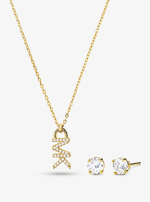 Michael Kors 14k Rose Gold-Plated Sterling Silver Pave Logo Necklace And Stud Earrings Set