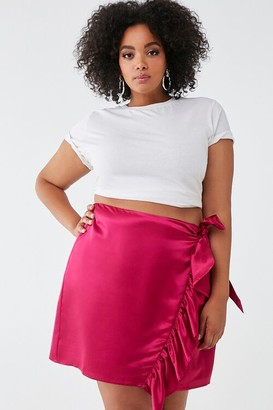 Forever 21 Plus Size Satin Faux Wrap Skirt
