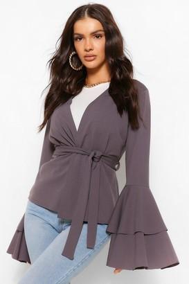 boohoo Tiered Sleeve Belted Kimono