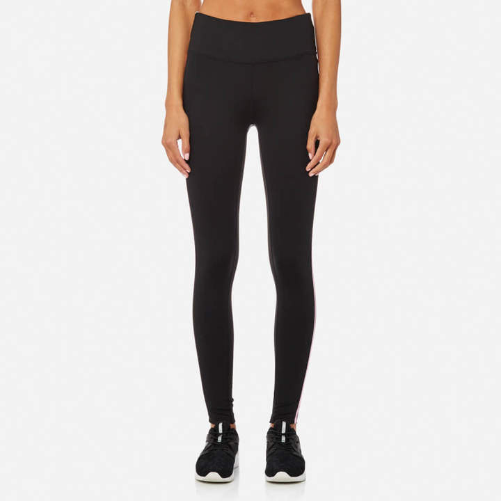 DKNY Performance Sport Women's Hi Waist 7/8 Logo Tights with Reflective Tape