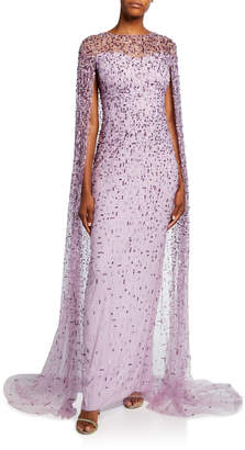 Pamella Roland Geometric-Beaded Caped Illusion Gown
