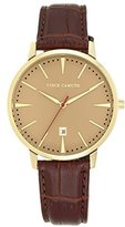 Vince Camuto Men's VC/1073GDGP The Associate Date Function Dial Brown Croco-Grain Leather Strap Watch